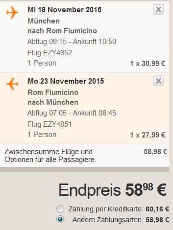 München Rom Singlereisen im November Easyjet Beispiel Flug