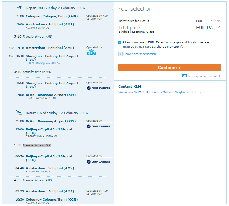 china flüge mit KLM im Februar 2016