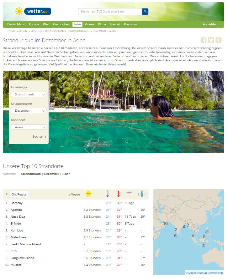 Der Urlaubsplaner von wetter.de erstellt Reisevorschläge unter anderem anhand von gesammelten Wetterdaten zum planen für Singlereisen, Singleurlaub und Alleinreisende