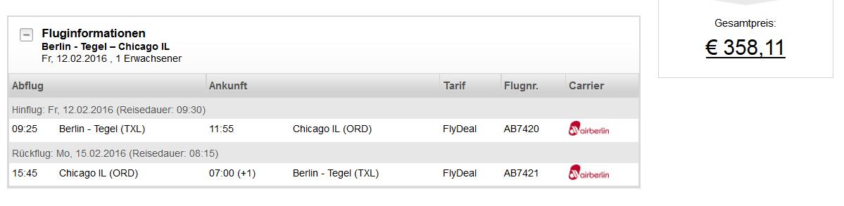 Flüge von Berlin nach Chicago pro Strecke nur 179€ im AirBerlin Adventskalender