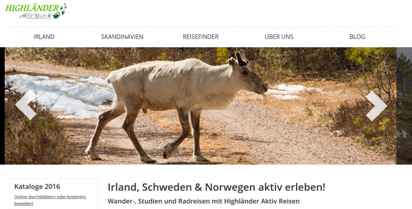 Highländer Reisen Singlereisen Webseite Screenshot