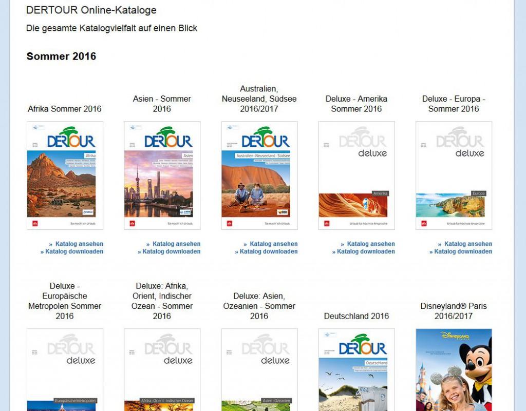 Alle DERTOUR Kataloge kann man online durchblättern (Screenshot: solo-urlaub.de)