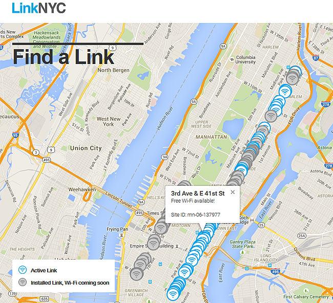 linknyc, new york kostenloses Wlan, wifi