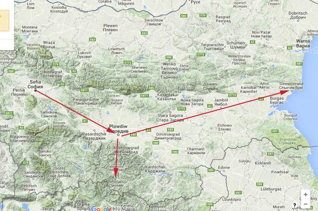 Die Route durch Bulgarien. Von der Hauptstadt Sofia in die zentrale Tiefebene. Von dort ein Abstecher in Richtung griechische Grenze und schließlich ans Schwarze Meer.