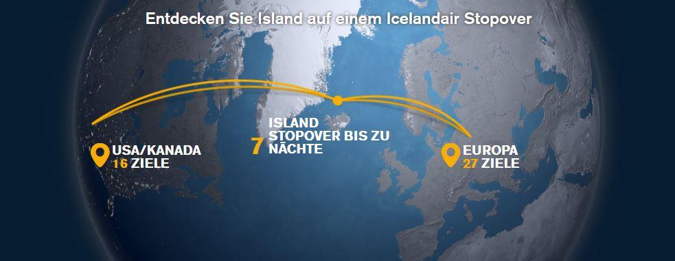 Icelandair lockt mit bis zu 7 Tagen kostenlosem Stopover auf Island Screenshot: Icelandair.de