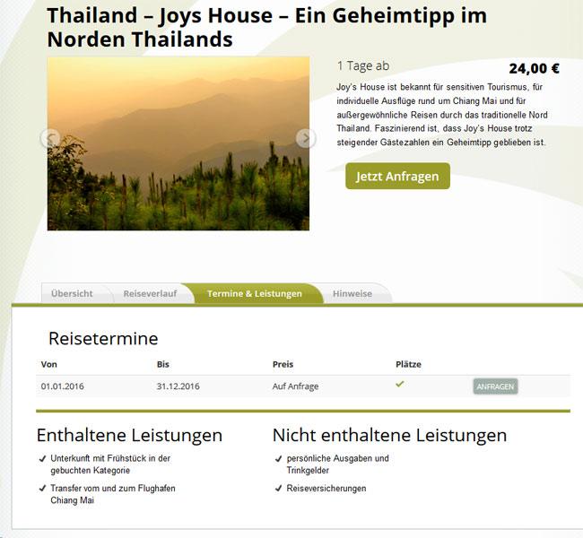 Beispiel für einen Tagesbaustein in Thailand -Unterkunft und Verpflegung mit Spa und Transfers