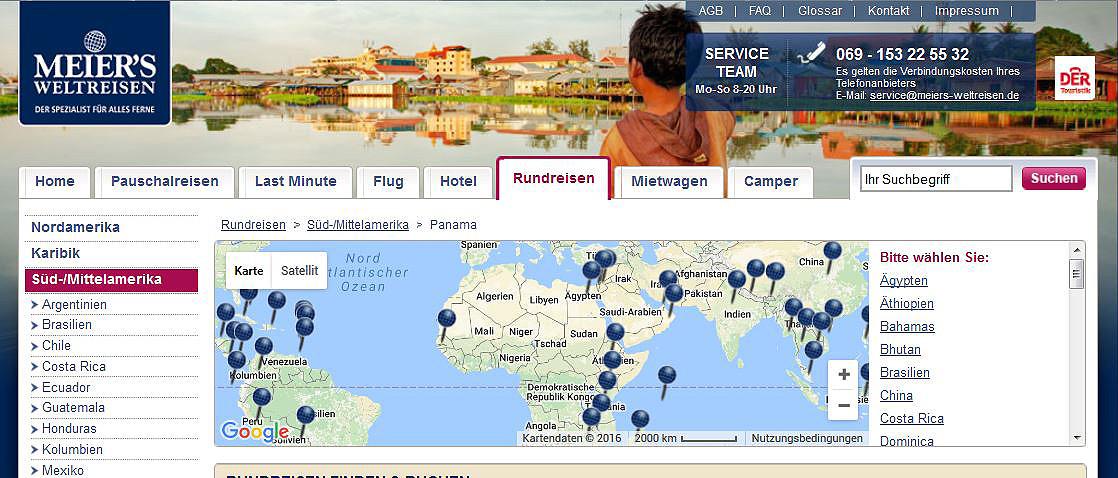 meier's weltreisen, screenshot, singleurlaub, rundreisen, alleine reisen