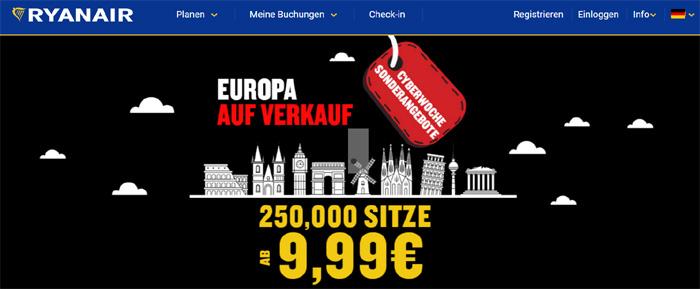 cyber week sale, singleurlau, singlereisen, ryanair, europa