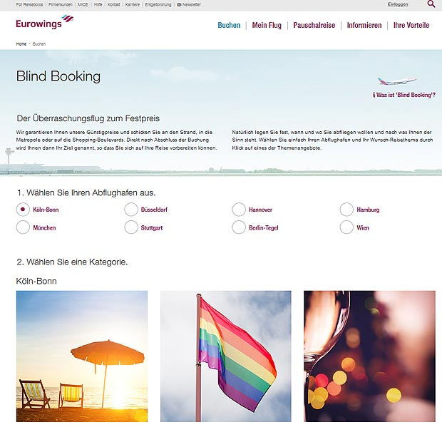 Blind Booking bei Eurowings