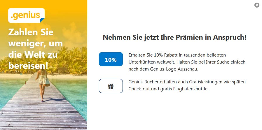 Was ist das das booking.com Genius Programm (Screenshot: booking.com), solo-urlaub.de