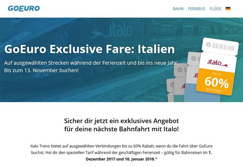 Mit dem Zug durch Italien, Aktion mit GoEuro und Italo Treno