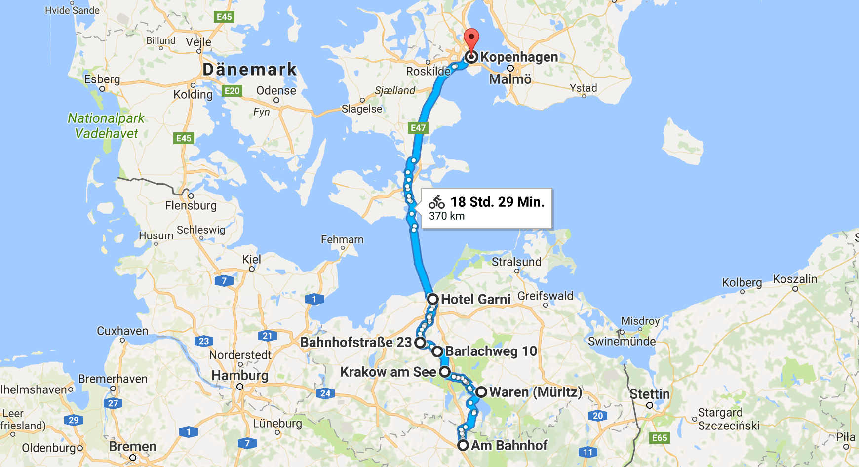 Route Berlin Kopenhagen mit dem Fahrrad