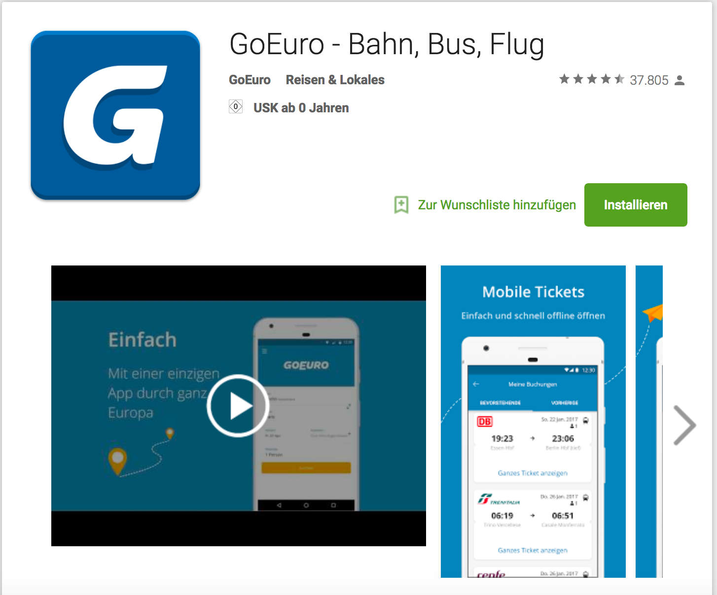 Goeuro im Android Playstore