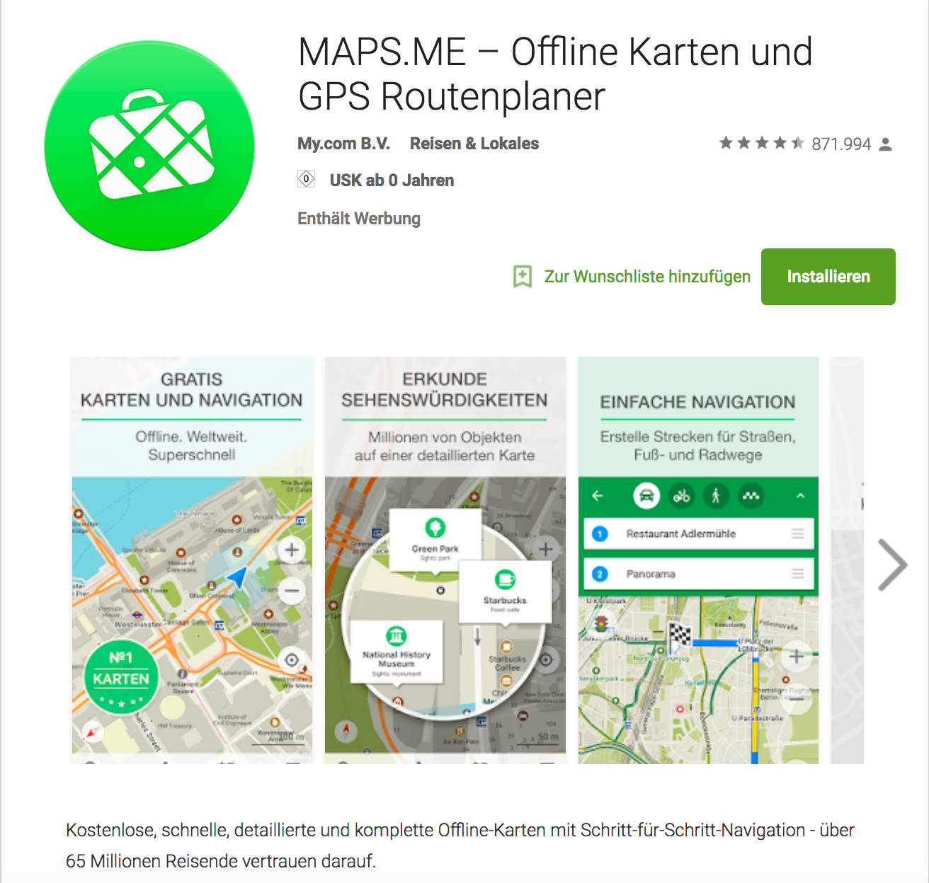 Maps.Me offline Maps im Google Play Store