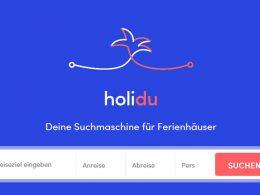 Der Startscreen von holidu.de (Screenshot), Ferienwohnung, Ferienhäuser finden , suchmaschine, urlaub, holidu