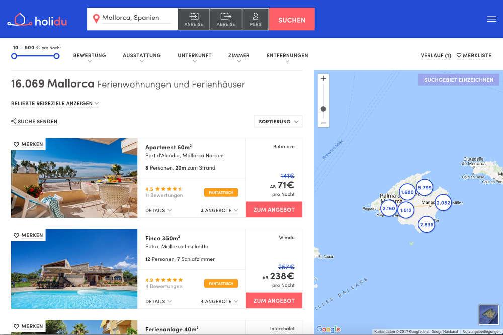 Ferienhäuser suchen, Ferienwohnung, Unterkunft, App, Holidu