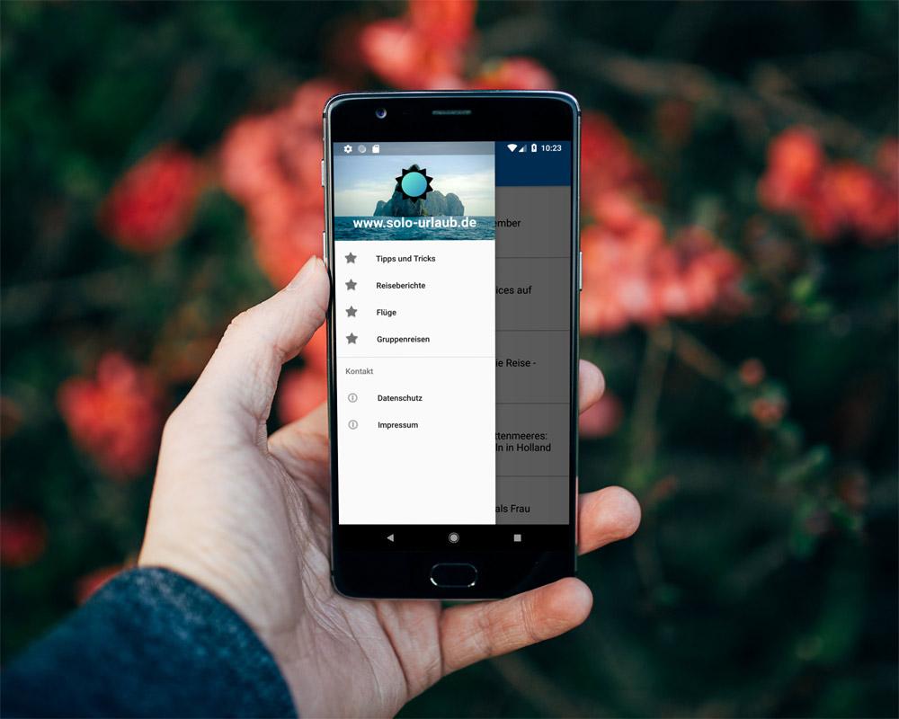 smartphone android travel app, solo-urlaub.de app, reise app