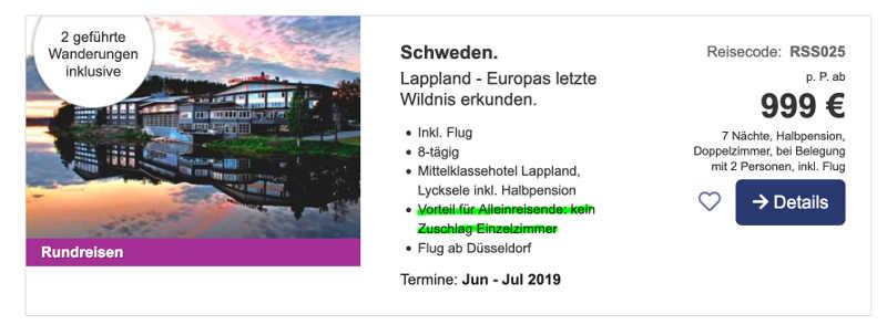 Beispiel Lappland-Reise ohne Einzelzimmer-Aufschlag